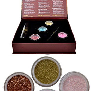 Itay Beauty Shine Bright eye shadows Kit (4 eye shadows glitters + gel sparkle +premium duo brush ) (Pearl)