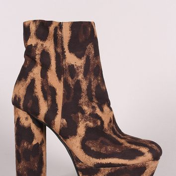 Bamboo Leopard Platform Cylindrical Heeled Booties