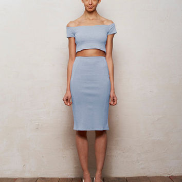 Mix n Match Coco Crop Top and Pencil Skirt Set in Pastel Blue