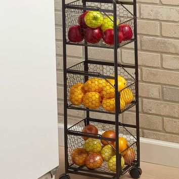 Decorative Slim Rolling Metal Kitchen Fruit & Vegetable Basket Storage Organizer Cart