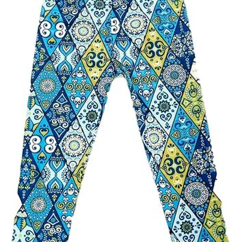 Girls Pattern Print Legging, Blue-Yellow