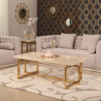 Archer Brass Finish Stainless Steel Coffee Table