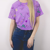 Vintage Floral Purple Abstract Blouse