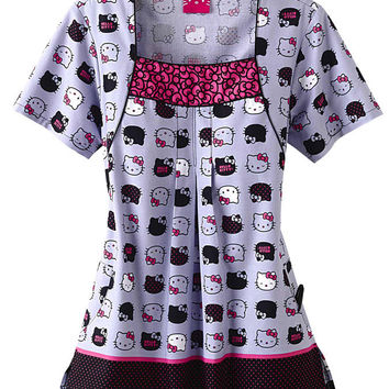 Cherokee Hello Kitty Expressions print scrub top. - Scrubs and Beyond
