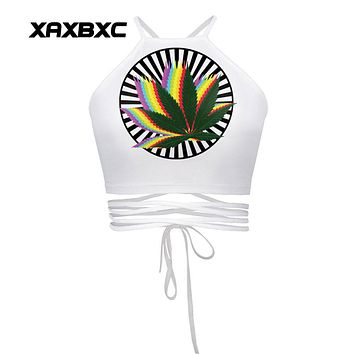 XAXBXC 007 Summer Sexy Girl Vest Women Cropped Tops Kawaii Rainbow Leaf Weed Prints Slim Fitness Cross Bandage Strap Tank Tops