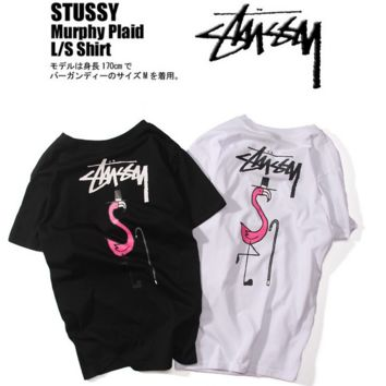 """STUSSY""Print the flamingo round collar short sleeve T-shirt  Men and Women's Clothes"