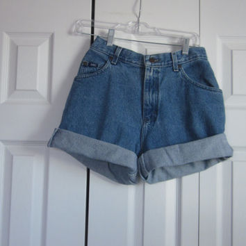 Vintage Lee High Waisted Denim Shorts Cut Off Jean Shorts 90s Grunge Mom Jeans Womens 10 High Waist Shorts 29 Hipster GS101