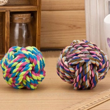 New Pet Puppy Rope Dogs Cottons Chews Toy Ball Play Braided Bone Knot (Color: Multicolor) = 1929679108