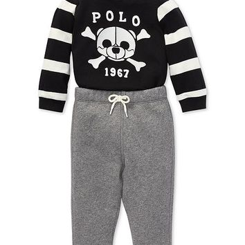 Polo Ralph Lauren Baby Boys Graphic Shirt & Fleece Pants Set Kids - Sets & Outfits - Macy's