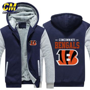 NFL American football winter thicken plus velvet zipper coat hooded sweatshirt casual jacket Cincinnati Bengals