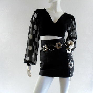 90's Crop Top S/M // Black and White Long Sleeve Crop Top // Club Kid Polka Dot Sheer Sleeve 1990s Clothing 90's Clothing
