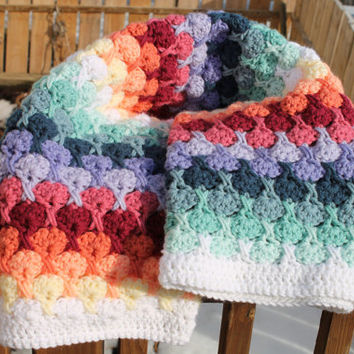 Baby Blanket Afghan, soft, warm, cuddly, crocheted hugs 'n kisses pattern, car seat, travel, stroller huggie lap