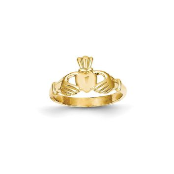 14k Yellow Gold Polished Claddagh Ring