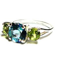 """Mystic topaz ring, topaz ring, 3 stone ring, anniversary ring, mothers ring, blue green, s 6 1/2  """"Circle of life"""""""