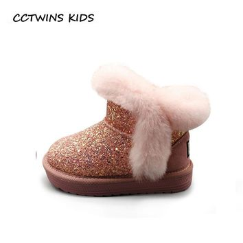CCTWINS KIDS 2018 Winter Children Genuine Leaher Warm Shoe Baby Girl Fashion Snow Boot Toddler Brand Glitter Boot  CS1539