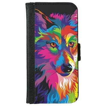 Colorful Wolf iPhone 6 Wallet Case