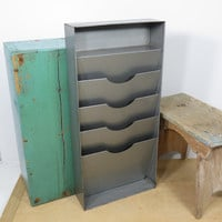 Vintage Industrial Mail or File Organizer . Vertical Desk or Wall File . Gray Metal . Office Storage