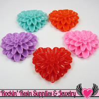 38mm Large Chrysanthemum Heart Resin Cabochons (5 pieces)