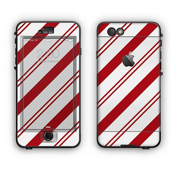 The Red and White Slanted Vector Stripes Apple iPhone 6 Plus LifeProof Nuud Case Skin Set