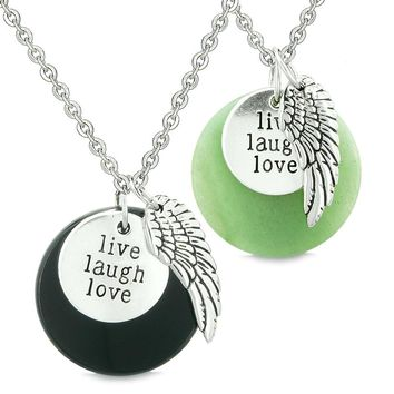 Guardian Angel Wing Live Laugh Love Inspirational Amulet Couples Set Green Quartz Agate Necklaces