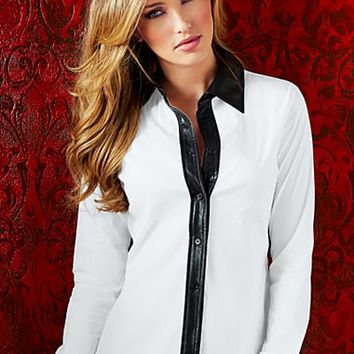 White & Black Faux leather trim blouse  from VENUS