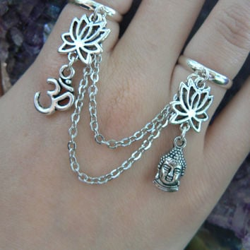 yoga double ring chained ohm lotus flower buddha slave ring star sun moon goddess new age belly dance gypsy hippie morrocan boho and hipster