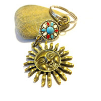 Cool Antique Brass Celestial Sun Keychain