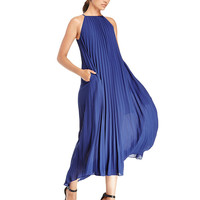 Halterneck Chiffon Pleated Maxi Dress