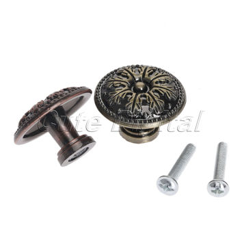 Round Brass Knobs Pulls For Cabinets Single Hole Door Knob Antique Bronze Alloy Cabinet Wardrobe Drawer Closet Pull Handle