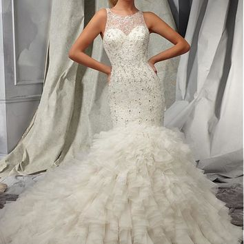 [433.32] Amazing Lace & Tulle Jewel Neckline Natural Waistline Mermaid Wedding Dress With Beadings & Rhinestones - Dressilyme.com