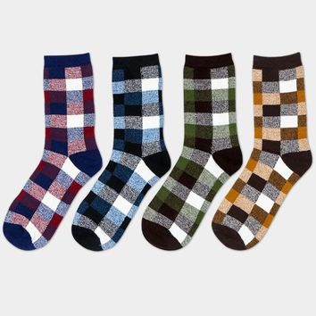 1Pair Mens Novelty Socks Classic Lattice New Fashion Hip Hop Socks For Mans Colorful Happy Socks Odd Future Funny Sock