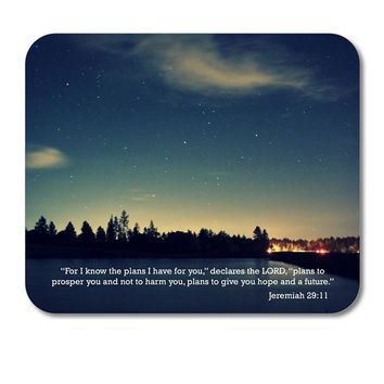 "DistinctInk Custom Foam Rubber Mouse Pad - 1/4"" Thick - Night Sky Lake Jeremiah 29:11"