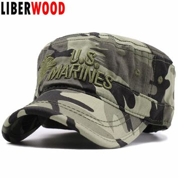 LIBERWOOD United States US Marines Corps Cap Hat USMC Camouflage flat top hat Men cotton hat USA Navy Embroidered hats cap
