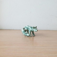 Tree agate wolf miniature, vintage green white stone, wolf miniature, tree agate carved miniature of wolf, late seventies