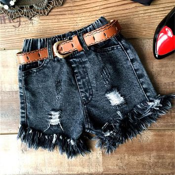 Hot Shorts High Quality New Arrival 2016 Summer Baby Girls  Fashion Kids Denim  Toddler Ruffle Hole Jean  For 2-8YAT_43_3