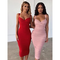 Form Fitting Midi Dress In Two Colors