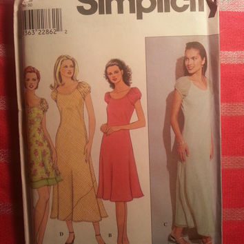 Uncut 1999 Simplicity Sewing Pattern, 8644! 18-20-22 Large/XL/XXL/Women's/Misses/Pull Over Bias Cut Dress/Short Puffy Sleeves/Long or Short