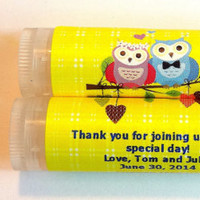 10 Wedding Owls Lip balm Favors - custom color & flavor, personalized lip balm,  owl wedding favors, bridal shower, romantic owls,  A2