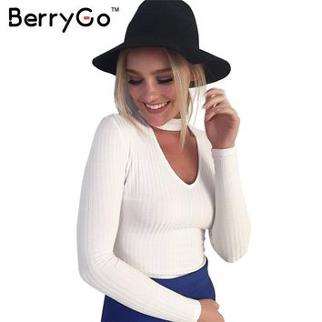 BerryGo Autumn winter black halter knitted sweater