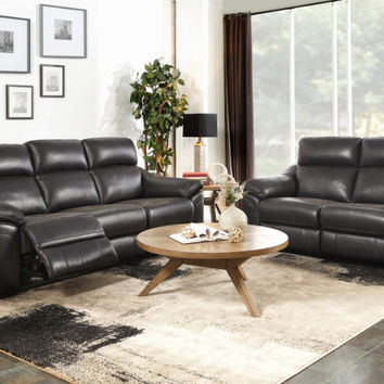 Home Elegance HE-9805DG-SL-PW 2 pc Renzo dark gray top grain leather sofa and love seat set power motion recliners
