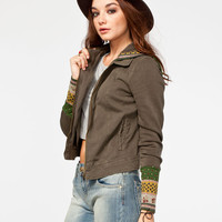 Others Follow Decoy Womens Hooded Twill Jacket Olive  In Sizes