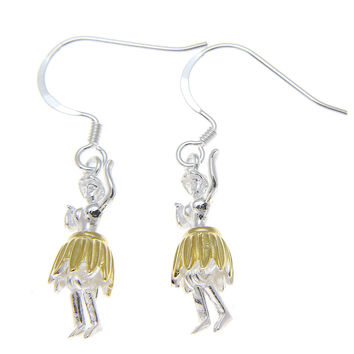 925 Sterling Silver Hawaiian Hula Girl Dancer 2T Yellow Gold Hook Wire Earrings