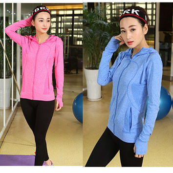 Slim Stylish Zippers Hoodies Jogging Sports Yoga Long Sleeve Jacket [10627832719]