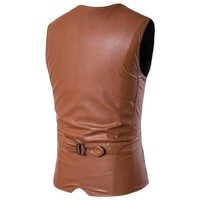 New Designs Faux Leather Jacket Vests for Men size mlxl