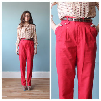 80s high waist pants / red cotton summer by brownbagvintage