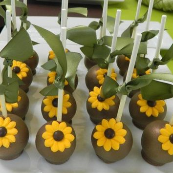 12 Sunflower Wedding Bridal Shower Birthday Favor Cake Pops