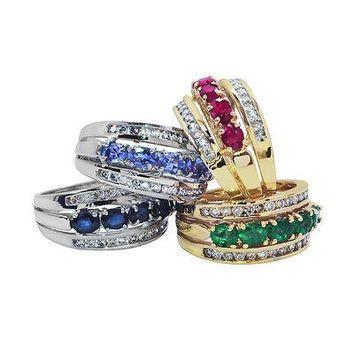 Diamond Cocktail Ring Rubies Emeralds Sapphires Tanzanite 14K Gold