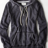 AEO Women's Full Zip Distressed Hoodie