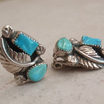 Carved Turquoise Earrings Sterling Silver Clip Ons Marked NCE Vintage