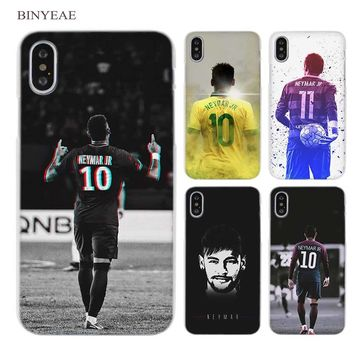 BINYEAE Neymar JR General Number 11 Clear Cell Phone Hard Case Cover for iPhone X 6 6s 7 8 Plus 5 5s SE 5c 4 4s